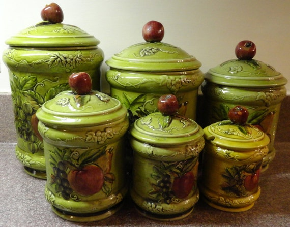 apple canisters for the kitchen lefton kitchen canister set ceramic signed geo s lefton 22909