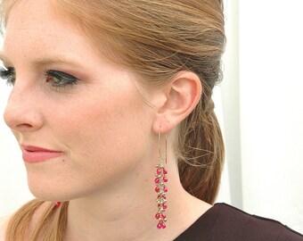 Magenta Quartz Dangle Earrings / 14K Gold / Boho Beautiful / Wire Wrapped / Teardrop Stone / Hot Pink / / Black Dress / Gifts For Her / OOAK