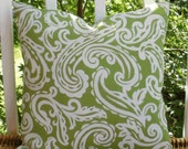 SALE ~ Decorative Outdoor Pillow ~ 18 X 18 Outdoor Pillow Cover in Lime Green and White Paisley...Home and Living