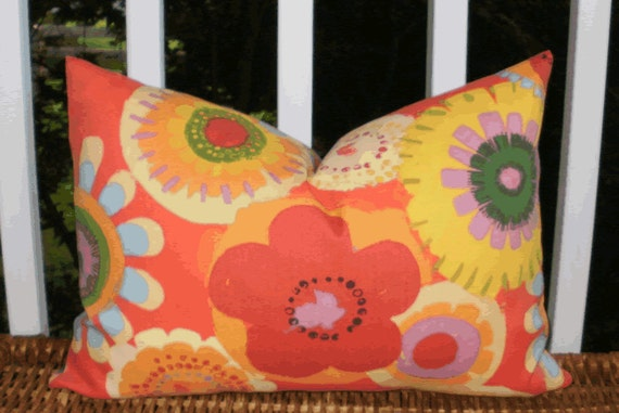 Decorative Outdoor Pillow : Mod Floral Deep Orange Outdoor 12 X 18 inch Accent Throw Pillow Cover