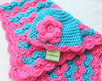 Baby Girl Shower Gift set - Baby Girl blanket - Crochet baby blanket turquoise/hot pink Shell waves and Rose Hat  - Photography props