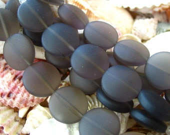"""4' / 8"""" str Smoky Grey 15mm coin sea beach glass beads frosted recycled matte flat"""