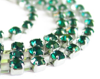3 feet emerald GREEN 3mm 12SS Rhinestone silver color RHODIUM plated brass chain trim - middle east stone - 36 inches