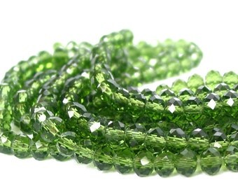 """18"""" 98pcs 6mm Olive Green designer glass rondelle Beads faceted crystal recycled"""