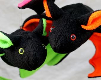 Neon Green Plush Bat