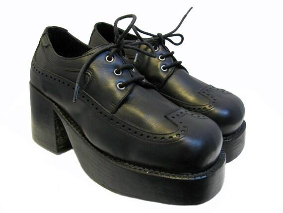 mens platform shoes vintage black leather wingtip oxford