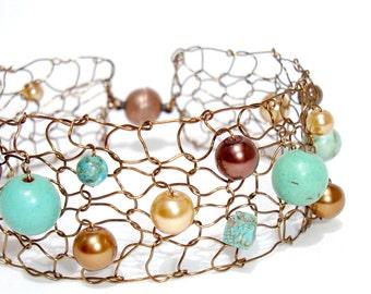 Turquoise Bracelet Handmade Jewelry Beaded Bracelets Hand Knit Jewelry Skinny Cuff Bracelet Modern Chic Jewelry for Women
