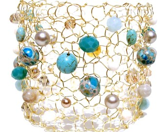 Gold Cuff Bracelet Turquoise Bracelet Beaded Bracelet Statement Jewelry Beach Bracelet Statement Bracelet Big Wire Knit Mesh Arm Cuff