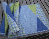 Blue And Green Geometric Style Quilted Placemats  Set of 4