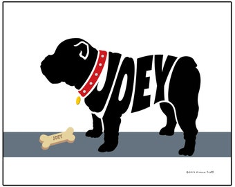 Personalized Bulldog Silhouette Print, Custom English Bulldog Name Art, Custom Dog Breed Art