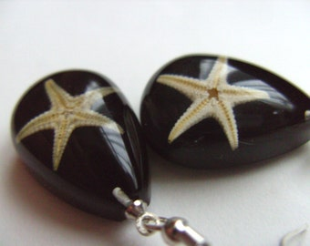 black, drop, star fish, real star fish, sea life, ocean, earrings, by NewellsJewels on etsy