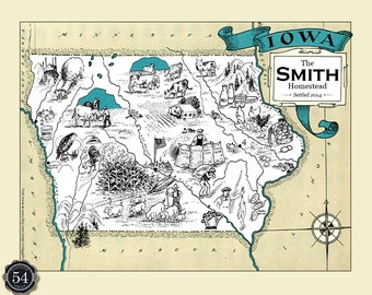 CUSTOM IOWA MAP Vintage Map of Iowa Personalized Wedding Gift Housewarming Gift Iowa Home Decor Iowa Wall Decor Iowa Wall Art Des Moines Ia