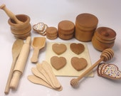 Toy Baking Set, Waldorf toy, toy kitchen, all natural with Beeswax Finish - Over 25 Piece Set