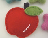 Felt hair clip -No slip -Wool felt -Apple -red