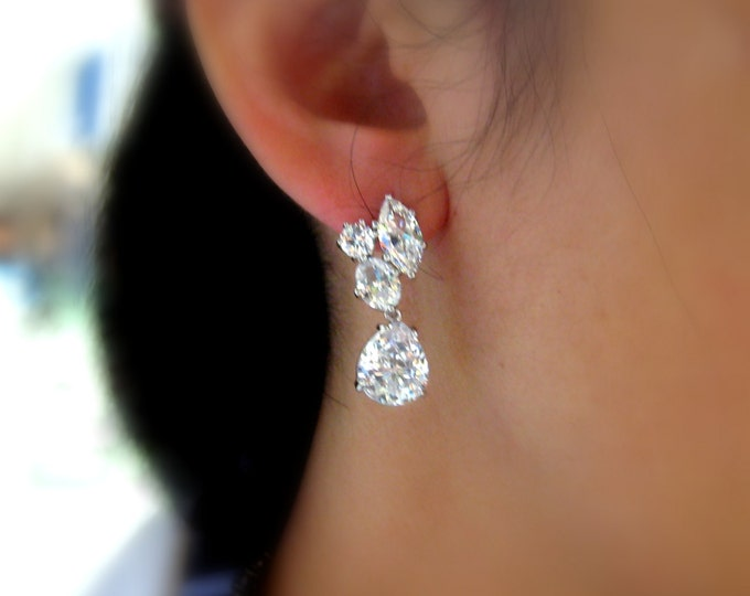 SALE set of 3 4 5 6 7 8 pairs wedding bridal jewelry bridesmaid earrings gift cubic zirconia post stud teardrop multistone rhodium earrings