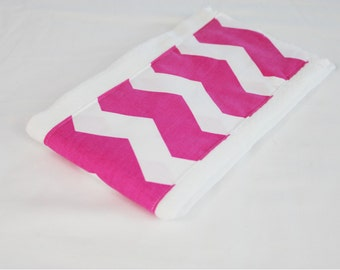 Hot Pink Chevron Baby Burp Cloth