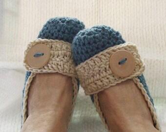 Crochet Slippers Womens Flats  Aqua and Tan
