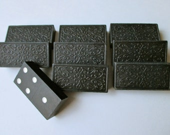 vintage wood floral dominoes - 8 pieces, game pieces, tiles