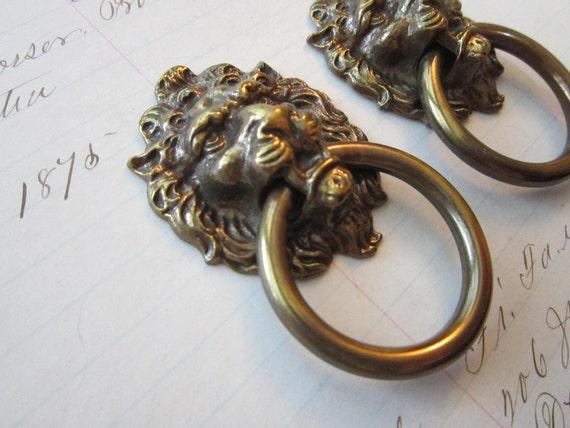 Sale 2 Vintage Drawer Pulls Brass Lion S Head