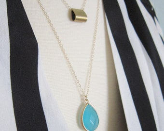 Aqua drop necklace on gold filled chain, delicate modern jewelry SALE