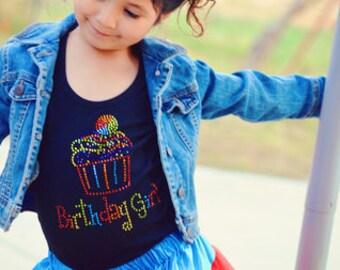 Rainbow Birthday Girl Cupcake Bling Shirt - Rhinestone Bling Birthday Girl Cupcake Tank Top, Ruffle Edge Short Sleeve or Long Sleeve Shirt