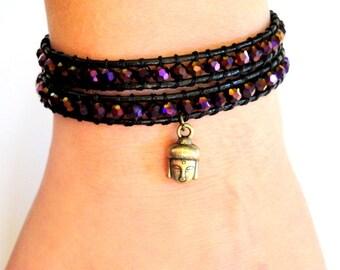 Buddha Beaded Leather Wrap Bracelet