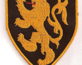 Gold Lion Rampant Heraldry Patch