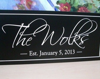 FAMILY NAME Sign  Carved Personalized Family Name Sign  Anniversary gift  Wedding 6 x 16