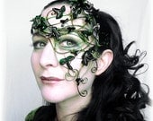 Green vine half mask with green ivy leaves.Womens, costume, accessories, handmade, mardi gras