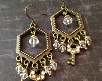 Steampunk Key and Crystal Chandelier Earrings