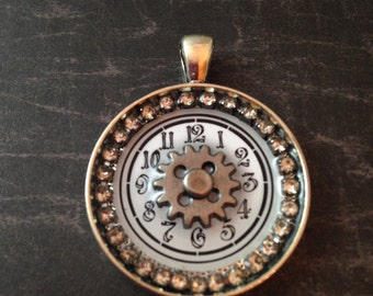 White Watch Face and Gear Steampunk Necklace
