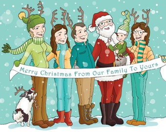 Illustrated Christmas Card, Custom Portrait, CUSTOM ILLUSTRATED, Personalized Gift, FAMILY, Christmas Gift, Holiday Card