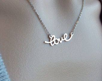 Silver Cursive Love Necklace - Christmas, gift, mother, sister, daughter, wife, friend, romantic, wedding, bridesmaid, graduation,