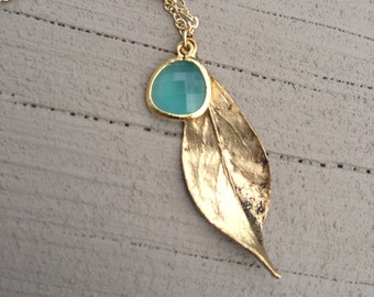 Antiqued Gold Twisted Leaf - Long Necklace - Mint glass drop, gift, mother, sister, wife, daughter, graduation, bridesmaid, romantic