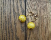 Vintage 1960s Ball and Chain Plastic Yellow Chandelier Earrings