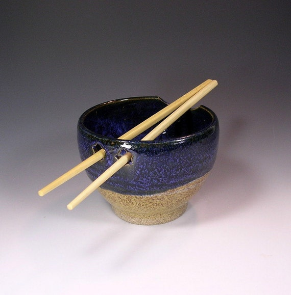 Noodle rice bowl with chopsticks, pottery sushi bowl, stoneware noodle bowl, ceramic rice bowl, blue gray and indigo blue