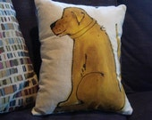 golden dog throw pillow handpainted by sheilatrowbridge