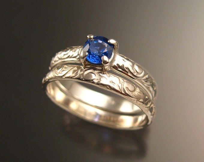 Sapphire Natural electric Blue Ceylon Sapphire Wedding ring 14k White Gold Victorian Engagement ring set made to order in your size