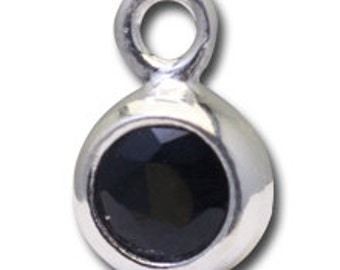 Bezel Charm with 4mm Black Onyx - Sterling Silver -  Bezels