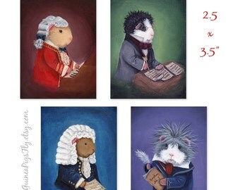 The Classical Cavies 4 mini-print ACEO set - Stocking Stuffers from When Guinea Pigs Fly
