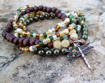 Dragonfly - Bohemian Stack Bracelets  - Swarovski Green Pearl, Yellow Calcite, Wood and Glass Stretch Bracelets