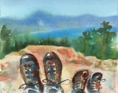 A Mile in My Shoes Hiking Watercolor Signed Print