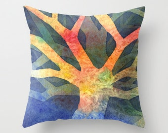 Tree Abstract Watercolor Throw Pillow Cover 2