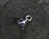 Tiny Purple Amethyst Pendant, Sterling Silver Jewelry February Birthstone - Add a Dangle