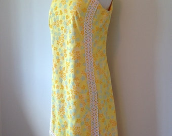 Spring Summer Vintage Yellow And Mint Green Floral LILLY PULITZER 60s Dress