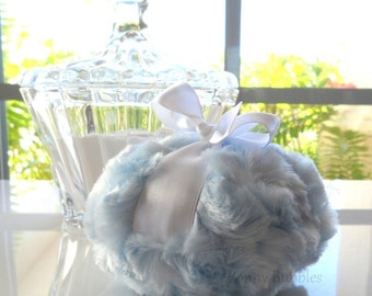 POWDER PUFF - Ice Blue - light blue- pouf poudre - bleu bebe powderpuff - powder blue - gift boxed - made by Bonny Bubbles