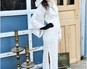 A M A Z I N G 1970s Lace Boho Hooded Floral Kimono Small Medium Wedding Dress Gown
