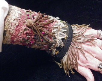 Cuff Double Mary Rose Gold Fringed Beaded Tassel Boho Hippie Gypsy Fabric Bracelet Catholic Medal