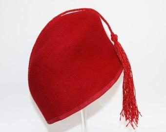Red Crimson Fez Women Hat  Luxury Millinery  Head Piece Tassel Christmas Smoking Cape