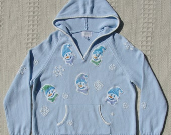 Hooded Ugly Christmas Sweater with Sassy Snowmen and Embroidered Snowflakes